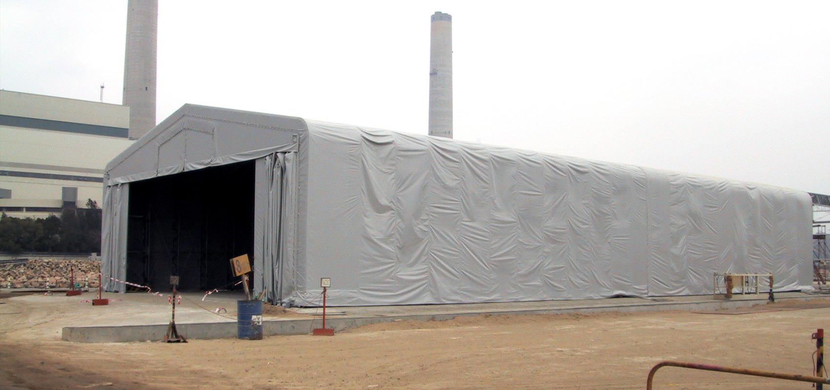 香港電力 伸縮式テント倉庫新築工事写真